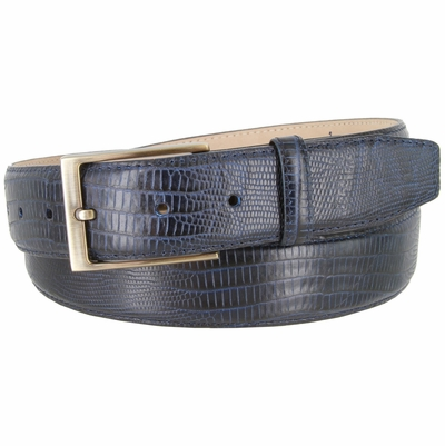 "3513 Genuine Italian Calfskin Lizard Embossed Leather Casual Dress Belt  1-3/8"" Wide - Navy"