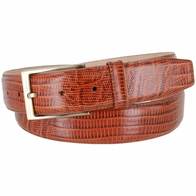 "3513 Genuine Italian Calfskin Lizard Embossed Leather Casual Dress Belt  1-3/8"" Wide - Tan"