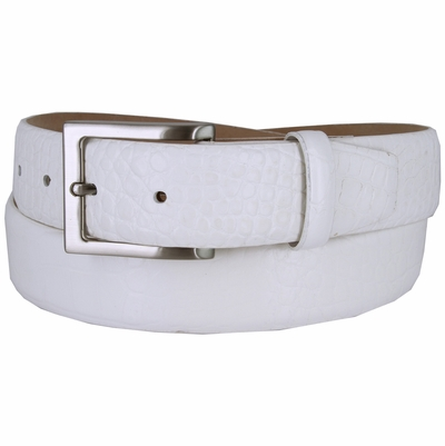 "3517 Men's Genuine Italian Calfskin Leather Dress Belt with Brushed Nickel Plated Buckle 1-3/8"" wide"