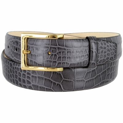 """3517 Men's Genuine Italian Calfskin Leather Dress Belt with Gold Plated Buckle 1-3/8"""" wide"""