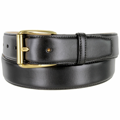 "3523 Men's Genuine Smooth Leather Dress Belt with Gold Plated Roller Buckle 1-3/8"" wide"