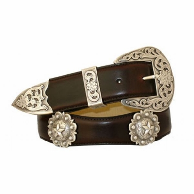 "3524 Scallop Leather Belt - 1 1/2"" wide"