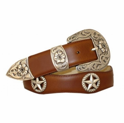 "3525 Scallop Leather Belt - 1 1/2"" wide"