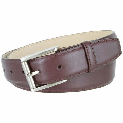 3526 Smooth Italian Calfskin Leather Dress Belt with Roller Buckle 1 3/8""