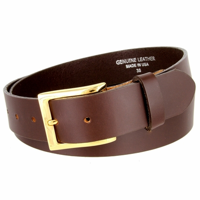 "3528 One Piece Smooth Genuine Dress Leather Belt 1-3/8"" wide Made in USA - Brown"