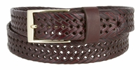 "353 Braided Leather Dress Belt - 1 1 /8"" Wide - BURGUNDY"