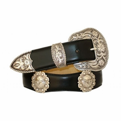 "3530 Scallop Leather Belt -  1 1 /2"" wide"