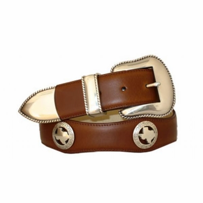 "3533 Scallop Leather Belt - 1 1/2"" wide"