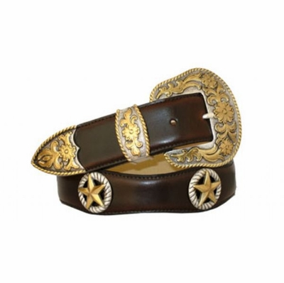 "3534 Scallop Leather Belt - 1 1/2"" wide"
