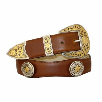 "3535 Scallop Leather Belt - 1 1/2"" wide - TAN"