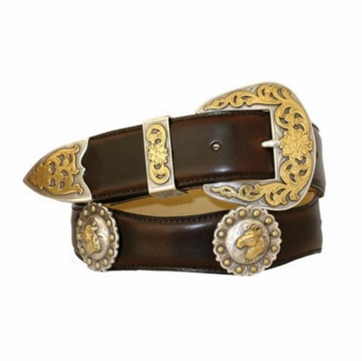"3538 Scallop Leather Belt - 1 /2"" wide"