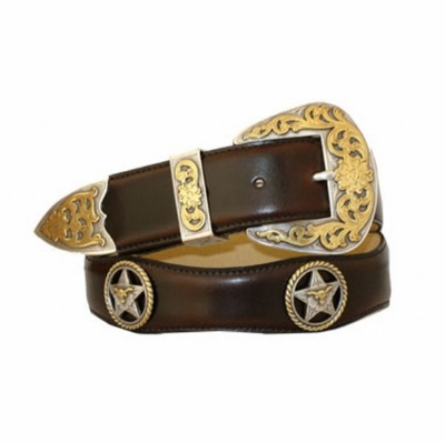 "3540 Scallop Leather Belt -  1 1/2"" wide"