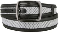 "3542 Golf Mesh Leather Belt 1-1/2"" wide- Black"