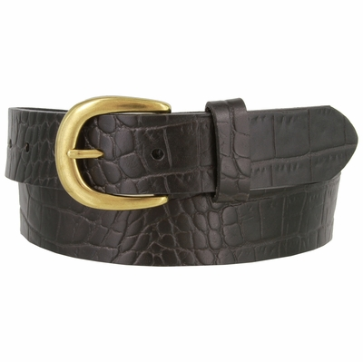 "3544 Crocodile Embossed Pattern Genuine Casual Leather Belt 1-3/8"" wide"