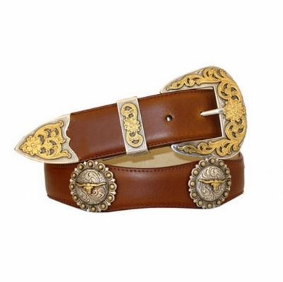 "3547  Scallop Leather Belt - 1 1/2"" wide"