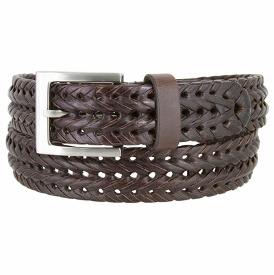 "355 Braided Leather Dress Belt – 1 1/8"" Wide - Brown"