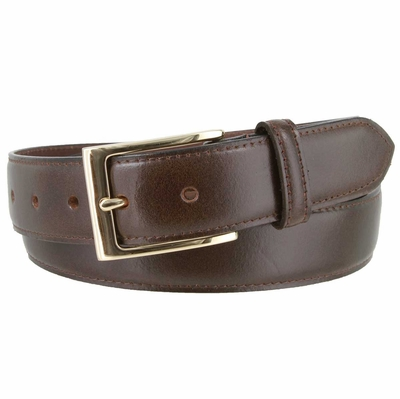 "3558 Business Genuine Leather Dress Belt with Gold Buckle   1 3/8"" wide"