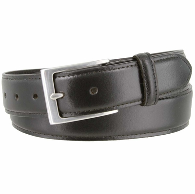 "3558 Business Genuine Leather Dress Belt with Silver Buckle   1 3/8"" wide"