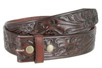 "3562 Full Grain Leather Floral Embossed Strap - 1 1/2"" wide BROWN"