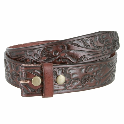 "3561 Full Grain Leather Floral Embossed Strap - 1 1/2"" wide BROWN"