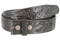 "3562 Full Grain Leather Floral Embossed Strap - 1 1/2"" wide BLACK"