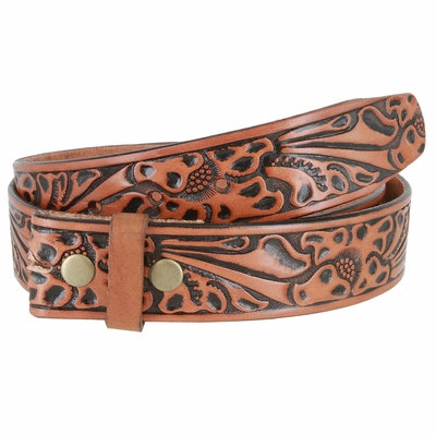 "3562 Full Grain Leather Floral Embossed Strap - 1 1/2"" wide TAN"