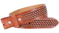 "3564 Basket-weave Full grain Leather Belt Strap - 1 1/2"" wide TAN"
