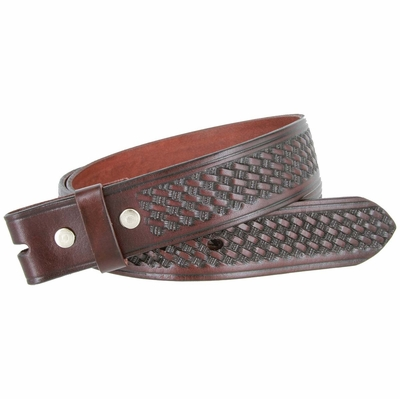 "3564 Full Grain Leather Basket-weave Embossed Strap - 1 1/2"" wide BROWN"