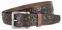 "3568 Western Floral Embossed Leather Casual Belt - 1 1/2"" wide"