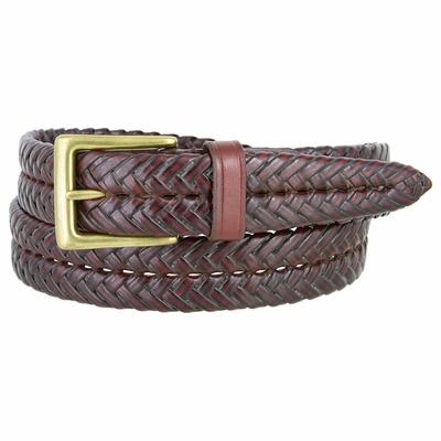 "356B Braided Leather Dress Belt – 1 1/8"" Wide - Burgundy"