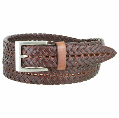 "356S Braided Leather Dress Belt – 1 1/8"" Wide - Burgundy"