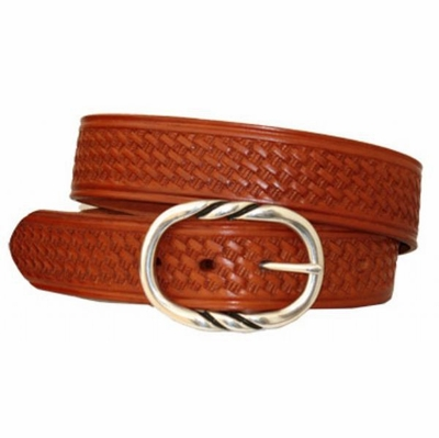 "3592 Basket-weave Full Grain Casual Leather Belt - 1 1/2"" wide"