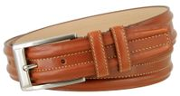 "3572 Double Raised Lines Center Stitched Genuine Office Dress Leather Belt 1 3/8"" wide � 3 Colors Available"