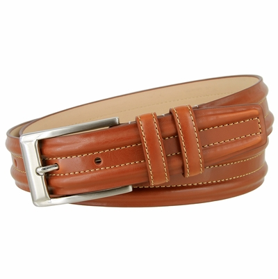 "3572 Double Raised Lines Center Stitched Genuine Office Dress Leather Belt 1 3/8"" wide – 3 Colors Available"