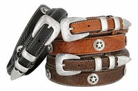 3575 Western Silver Star Concho Genuine Leather Bison Ranger Belt