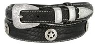 "3575 Western Silver Star Concho Genuine Leather Bison Ranger Belt - 1 3/8"" Wide - Billet 3/4"""