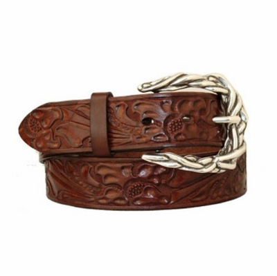 "3578 Western Floral Embossed Leather Belt - 1 1/2"" wide"