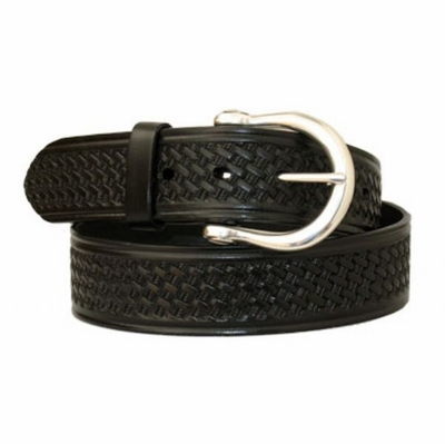 "3603 LUCK Basket-weave Embossed Full Grain Leather Belt - 1 1/2"" wide"