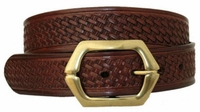 "3583 Basket-weave Full Grain Leather Belt - 1 1/2"" wide"