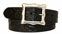 "3585 Western Floral Leather Belt - 1 1/2"" wide"