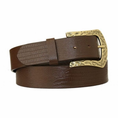 "3589 The Brass Full Grain Leather Belt - 1 1/2"" wide"