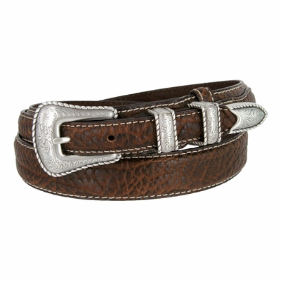 "3595 Silver Rope Edge Ranger Western Style - Bison Leather Belt - 1 3/8"" Wide - Billet 3/4"""