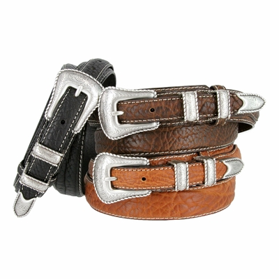 3595 Silver Western Engraved Rope Edge 100% Bison Leather Ranger Belt