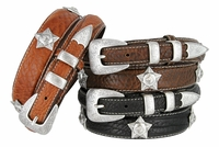 3596 Western Horse-head Star Concho Genuine Leather Bison Ranger Belt