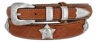"3596 Western Horse-head Star Concho Genuine Leather Bison Ranger Belt - 1 3/8"" Wide - Billet 3/4"