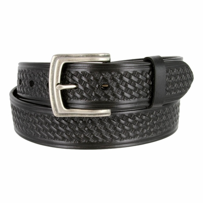 "3611 Basket Weave Full Grain Leather Belt - 1 1/2"" wide"