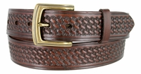 "3611 Basket Weave Full Grain Leather Casual Belt - 1 1/2"" wide"