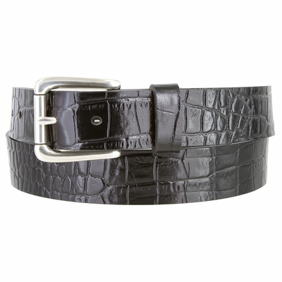 "3614 Alligator Embossed Roller Buckle Casual Leather Belt - 1 3/8"" Wide"