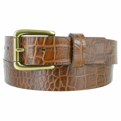"3615 Alligator Embossed Roller Buckle Casual Leather Belt - 1 3/8"" Wide - 3 Colors Available"