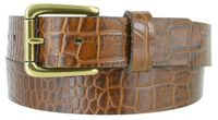 "3615XL Alligator Embossed Roller Buckle Casual Leather Belt - 1 3/8"" Wide - 3 Colors Available"